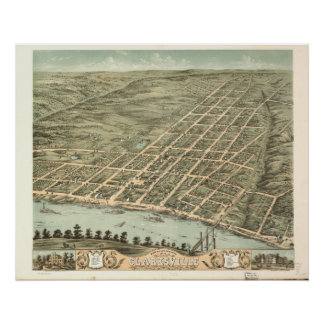Clarksville Tennessee 1870 antike panoramische Poster