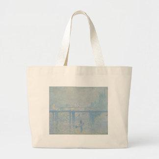 Claude Monet - Charing Querbrücke. Klassische Jumbo Stoffbeutel