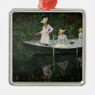 Claude Monet | das Boot bei Giverny, c.1887 Silbernes Ornament