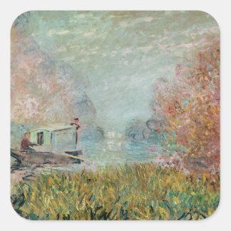 Claude Monet | das Boots-Studio auf der Seine, Quadratischer Aufkleber