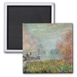 Claude Monet | das Boots-Studio auf der Seine, Quadratischer Magnet