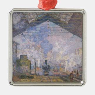 Claude Monet | das Gare St. Lazare, 1877 Quadratisches Silberfarbenes Ornament