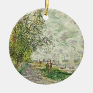 Claude Monet | der Riverbank bei Gennevilliers Rundes Keramik Ornament