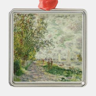 Claude Monet | der Riverbank bei Gennevilliers Silbernes Ornament