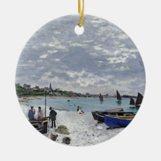 Claude Monet | der Strand bei Sainte-Adresse Rundes Keramik Ornament