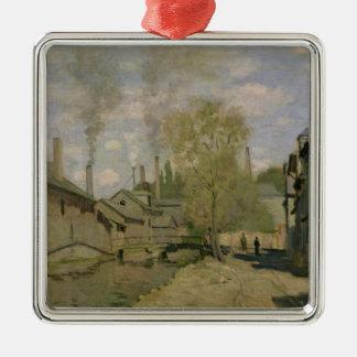 Claude Monet   der Strom von Robec in Rouen, 1872 Quadratisches Silberfarbenes Ornament