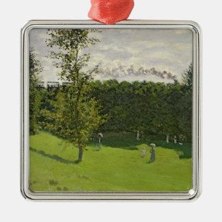 Claude Monet | der Zug im Land, c.1870-71 Quadratisches Silberfarbenes Ornament