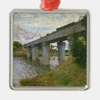 Claude Monet | die Eisenbahnbrücke in Argenteuil Silbernes Ornament