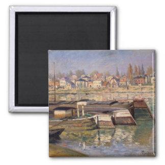 Claude Monet | die Seine bei Asnieres, 1873 Quadratischer Magnet