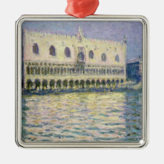Claude Monet | Ducal Palace, Venedig, 1908 Quadratisches Silberfarbenes Ornament