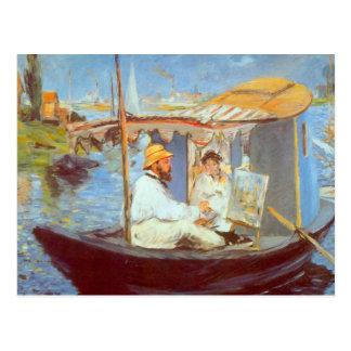 Claude Monet durch Edouard Manet Postkarte