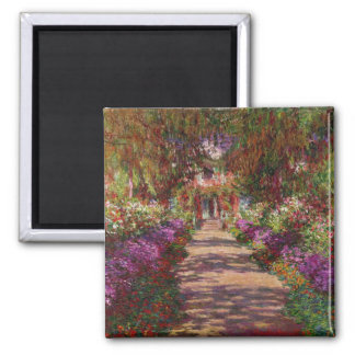 Claude Monet | eine Bahn in Monets Garten Quadratischer Magnet