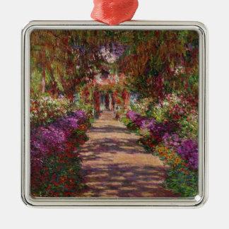 Claude Monet | eine Bahn in Monets Garten Quadratisches Silberfarbenes Ornament
