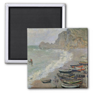 Claude Monet | Etretat, Strand und Porte d'Amont Quadratischer Magnet