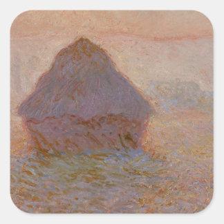 Claude Monet   Grainstack, Sun im Nebel Quadratischer Aufkleber