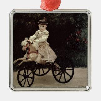 Claude Monet | Jean Monet auf seinem Hobby-Pferd, Quadratisches Silberfarbenes Ornament