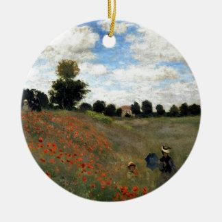 Claude Monet - Les Coquelicots Rundes Keramik Ornament