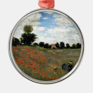 Claude Monet - Les Coquelicots Rundes Silberfarbenes Ornament