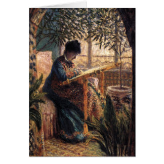 Claude Monet: Madame Monet Embroidering Karte