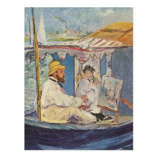 Claude Monet-Malen - Edouard Manet Postkarte