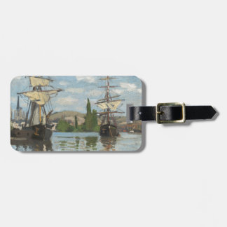 Claude Monet-Schiffe, die auf die Seine in Rouen Kofferanhänger