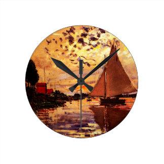 Claude Monet-Segelboot bei Le Klein-Gennevilliers Runde Wanduhr