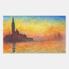 Claude Monet-Sonnenuntergang in der Rechteckiger Aufkleber
