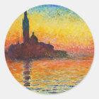 Claude Monet-Sonnenuntergang in der Runder Aufkleber