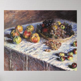 Claude Monet-Stillleben mit Äpfeln und Trauben Poster
