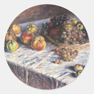 Claude Monet-Stillleben mit Äpfeln und Trauben Runder Aufkleber