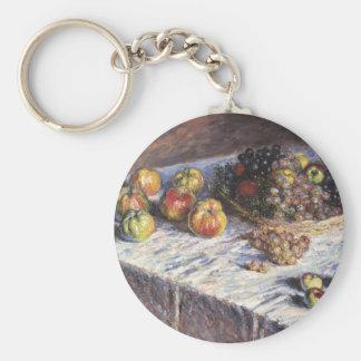 Claude Monet-Stillleben mit Äpfeln und Trauben Standard Runder Schlüsselanhänger