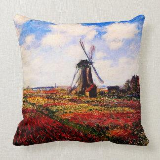 Claude Monet-Tulpen Felder Kissen