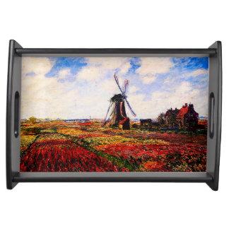 Claude Monet-Tulpen Felder Serviertablett