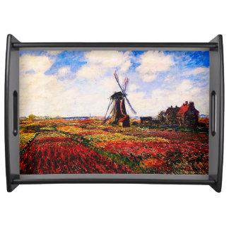 Claude Monet-Tulpen Felder Tablett