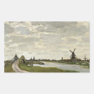 Claude Monet - Windmühlen nähern sich Zaandam Rechteckiger Aufkleber