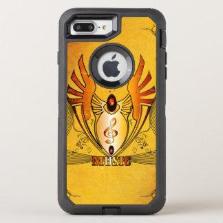 Clef auf einem dekorativen Knopf, goldener Entwurf OtterBox Defender iPhone 8 Plus/7 Plus Hülle