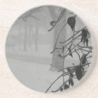 Clematis- und Schneefall während eines Blizzards Getränkeuntersetzer