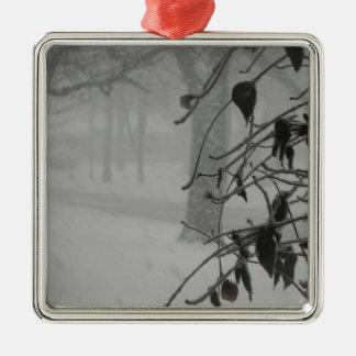 Clematis- und Schneefall während eines Blizzards Quadratisches Silberfarbenes Ornament