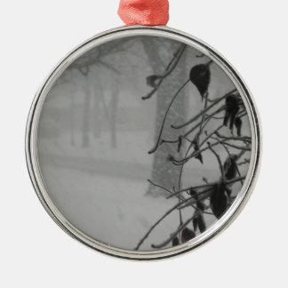 Clematis- und Schneefall während eines Blizzards Rundes Silberfarbenes Ornament