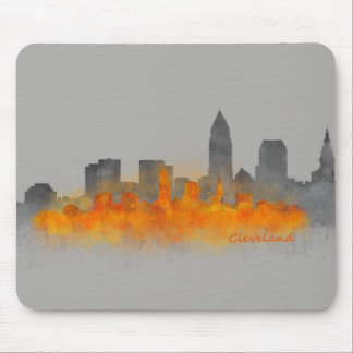 cleveland City US skyline watercolor B7W - Farbe Mousepad