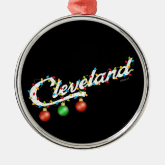 Cleveland in der Lichtverzierung Silbernes Ornament