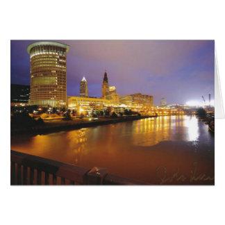 Cleveland-Skyline nachts Grußkarte
