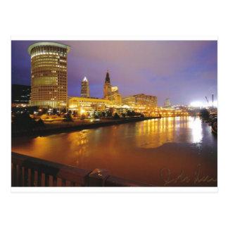Cleveland-Skyline nachts Postkarte