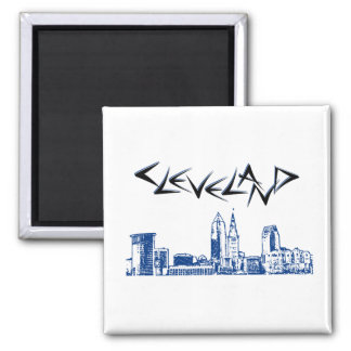 Cleveland-Skyline Quadratischer Magnet