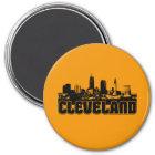 Cleveland-Skyline Runder Magnet 7,6 Cm