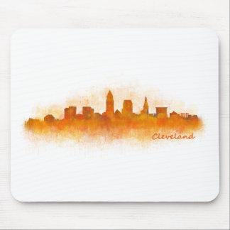 cleveland watercolor City US skyline v3 Mousepad