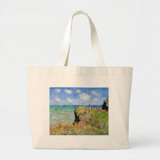 Clifftop Weg bei Pourville - Claude Monet Jumbo Stoffbeutel