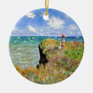 Clifftop Weg bei Pourville - Claude Monet Rundes Keramik Ornament