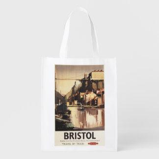 Clifton Hängebrücke und Boote Wiederverwendbare Einkaufstasche
