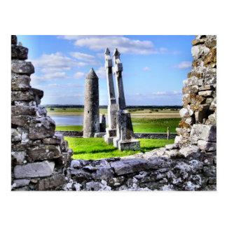 Clonmacnoise Turm-Postkarte Postkarte